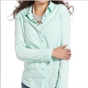 Anthropologie Holding Horses Mint Snap Down Shirt